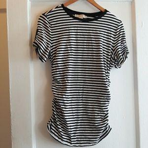 Michael Kors Striped Ruched Tshirt